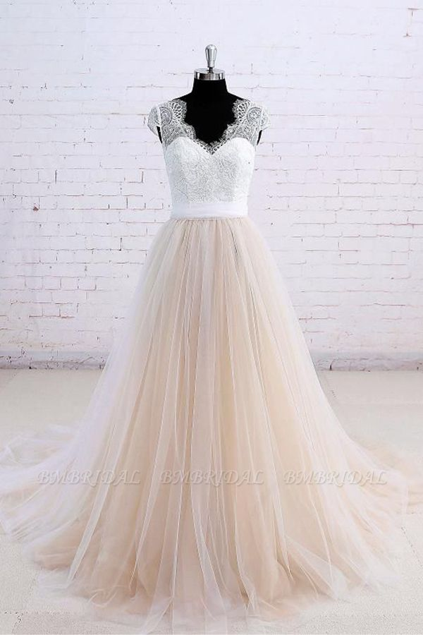 Affordable Shortsleeves Straps V-neck Wedding Dress Tulle Ruffles Bridal Gowns On Sale