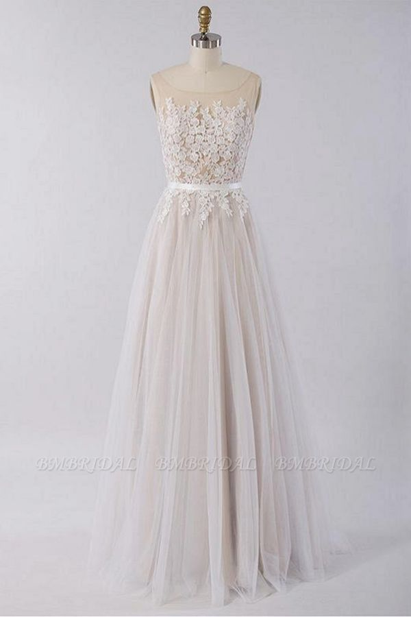 BMbridal Gorgeous Sleeveless Straps Jewel Wedding Dresses A-line Tulle Ruffles Bridal Gowns On Sale
