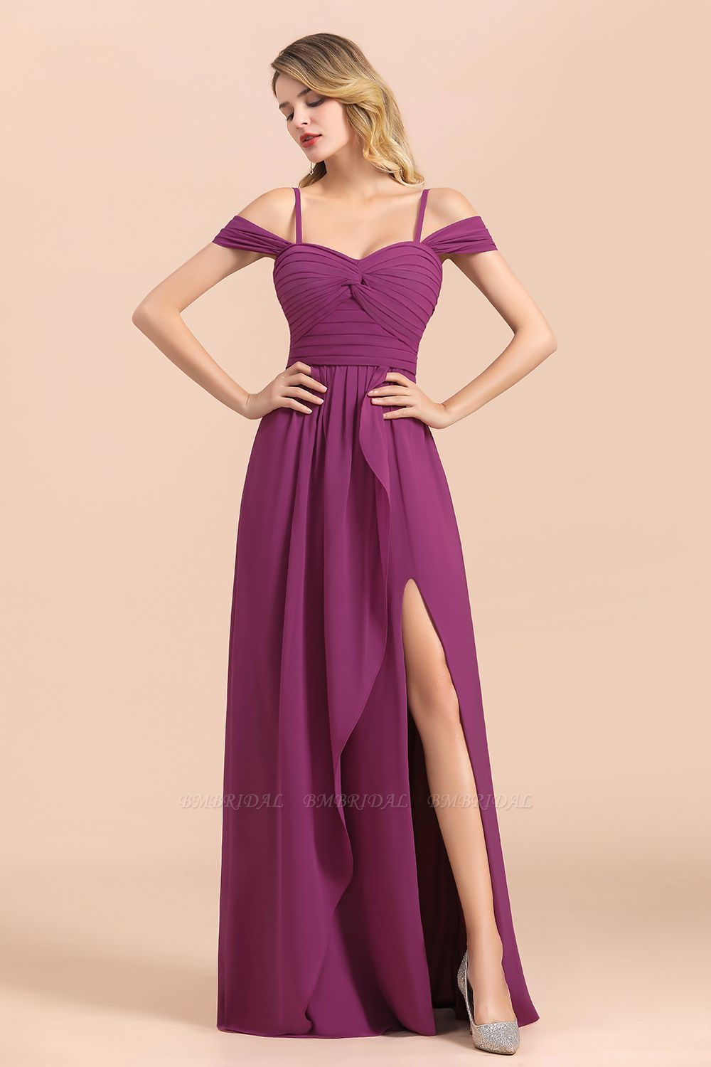 Gorgeous Off-the-Shoulder Ruffle Orchid Bridesmaid Dress Online with Slit