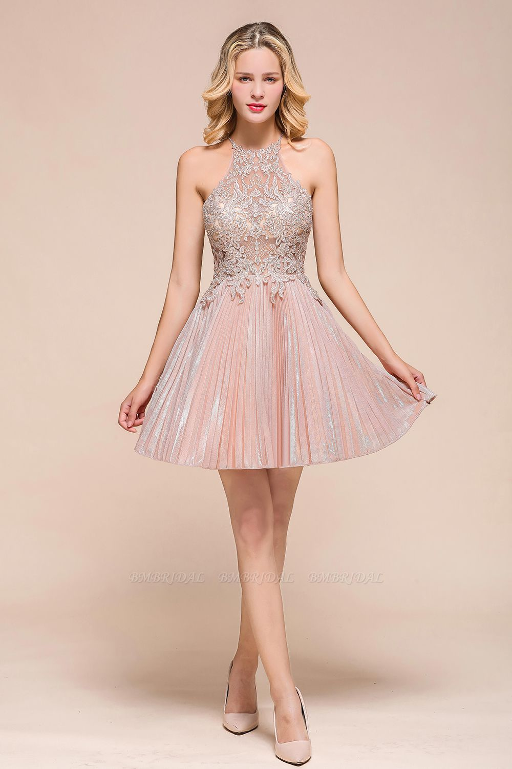 BMbridal Lovely Halter Lace Short Prom Dress Sleeveless Mini Party Gowns