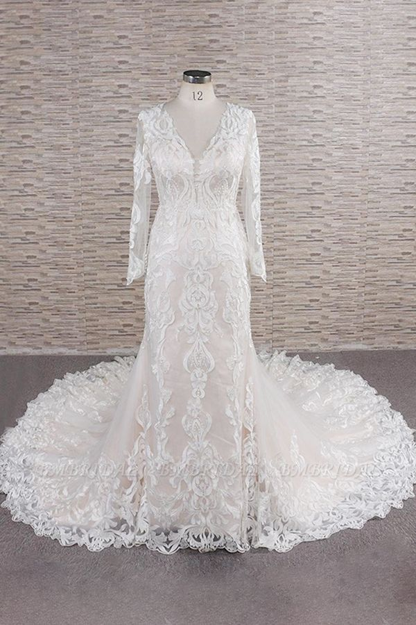 BMbridal Gorgeous Longsleeves V-neck Mermaid Wedding Dresses White Lace Bridal Gowns With Appliques On Sale