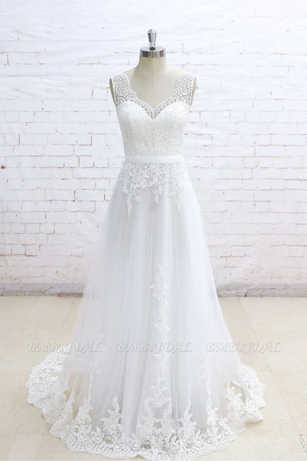 Stylish Sleeveless Straps V-neck Wedding Dresses White A-line Tulle Bridal Gowns With Appliques On Sale
