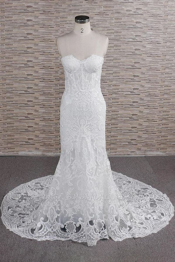 Chic Sweetheart Mermaid Lace Wedding Dresses White Sleeveless Bridal Gowns With Appliques On Sale