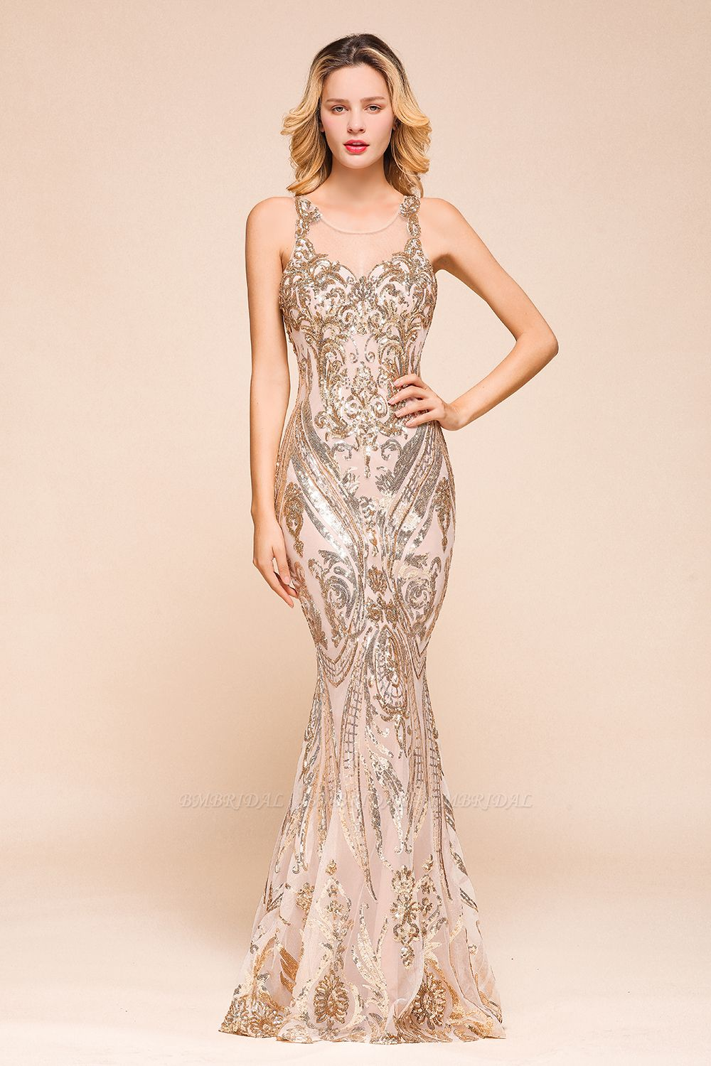 BMbridal Gorgeous Champagne Sequins Mermaid Prom Dress Long Evening Gowns Online