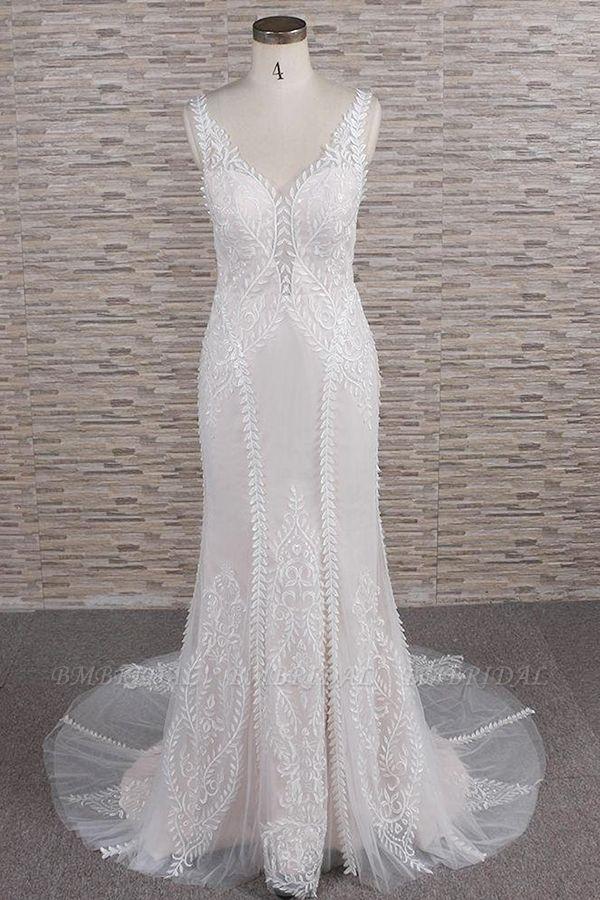 BMbridal Elegant Straps A-line Lace Wedding Dresses White Mermaid V-neck Bridal Gowns On Sale