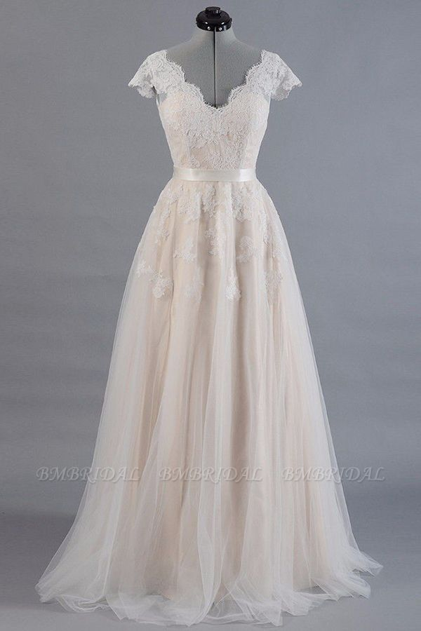 Affordable V-neck Shortsleeves A-line Wedding Dresses Champgne Tulle Lace Bridal Gowns On Sale