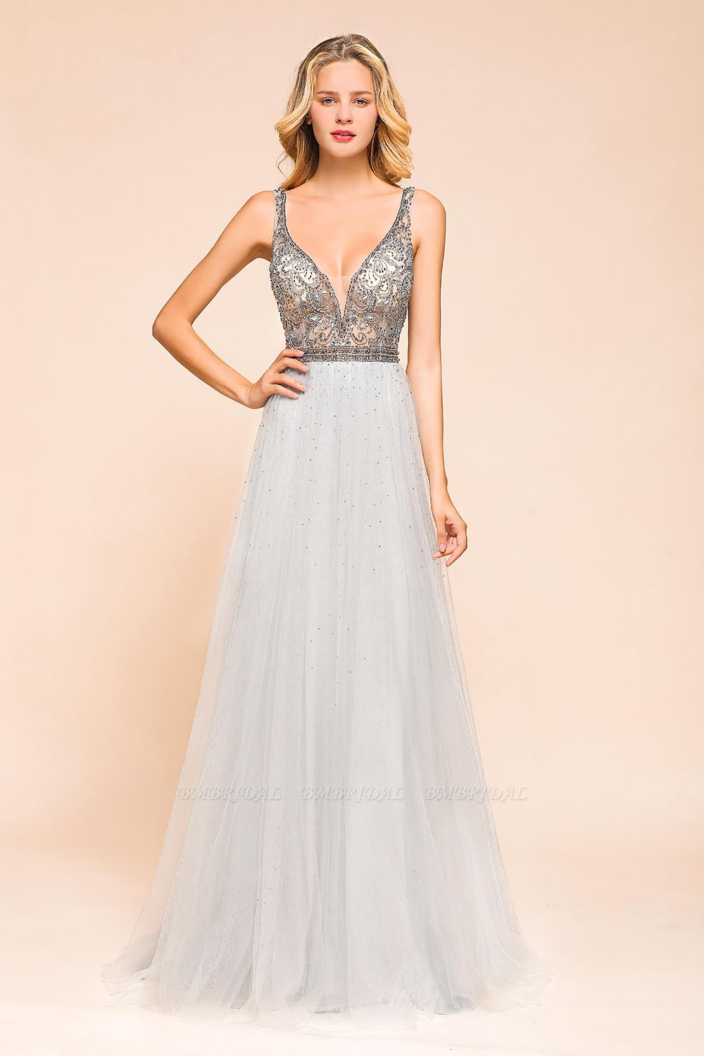 Charming V-Neck Tulle Long Prom Dress With Crystals On Sale