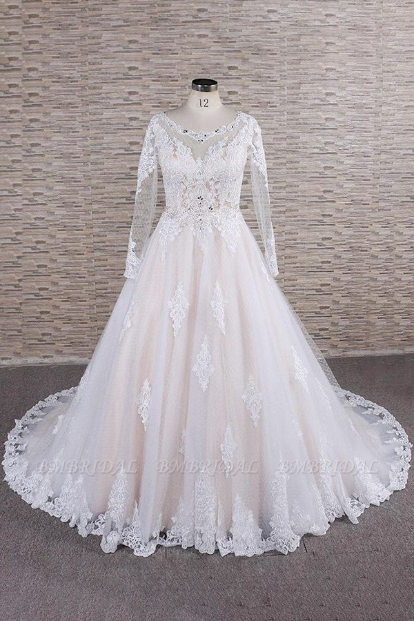 BMbridal Elegant Longsleeves Jewel Lace Wedding Dresses Jewel Tulle Champagne Bridal Gowns On Sale