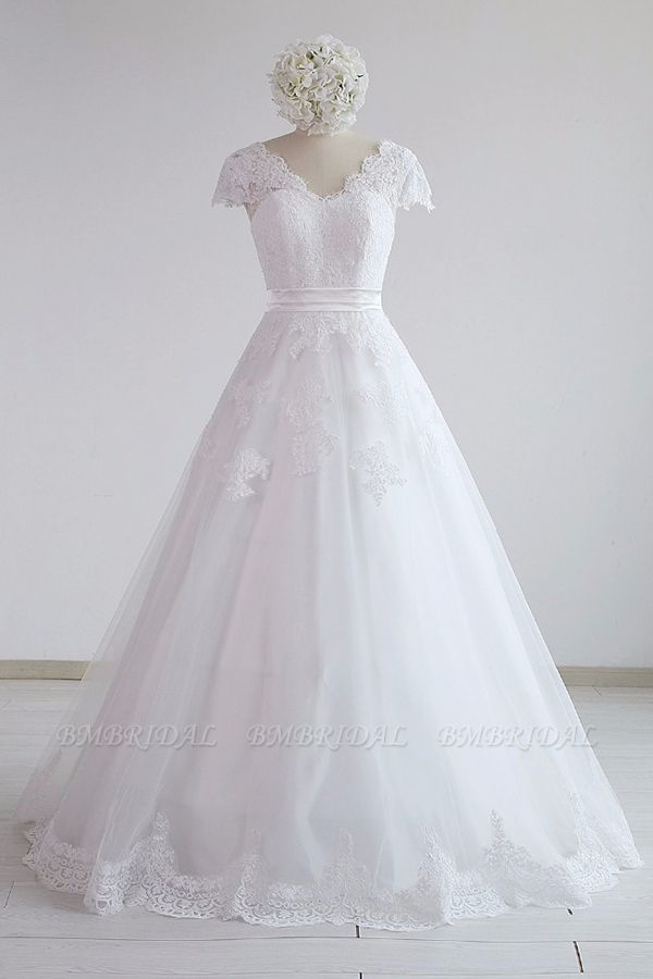 BMbridal Glamorous Shortsleeves V-neck Lace Wedding Dresses White A-line Tulle Bridal Gowns With Appliques On Sale