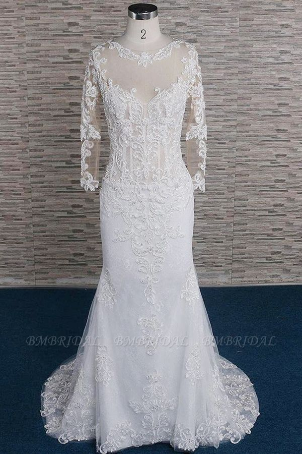 Modest Longsleeves Jewel Lace Wedding Dresses With Appliques White Tulle Bridal Gowns On Sale