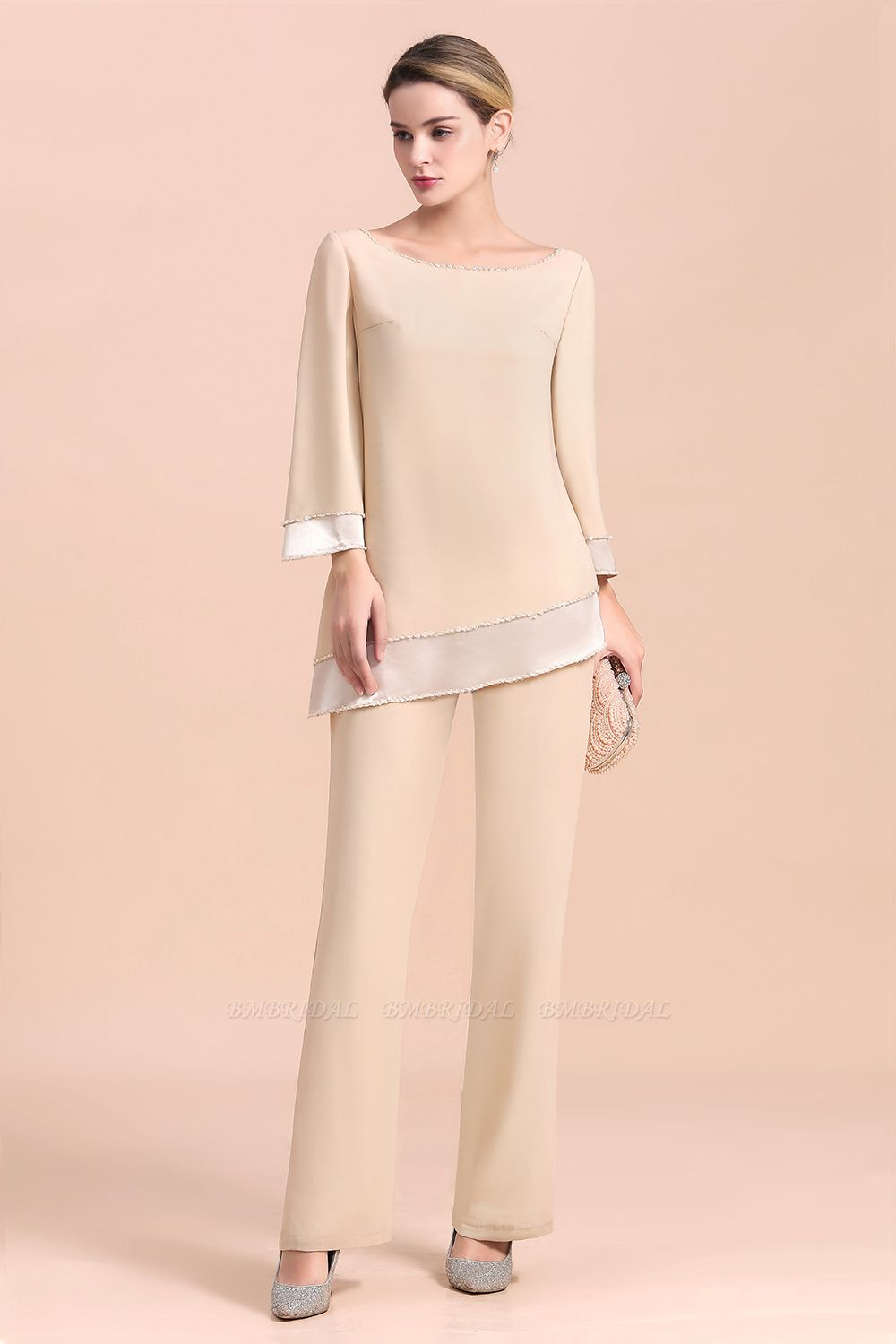 BMbridal Chic Round-Neck Champagne Chiffon Mother of Bride Jumpsuit Online
