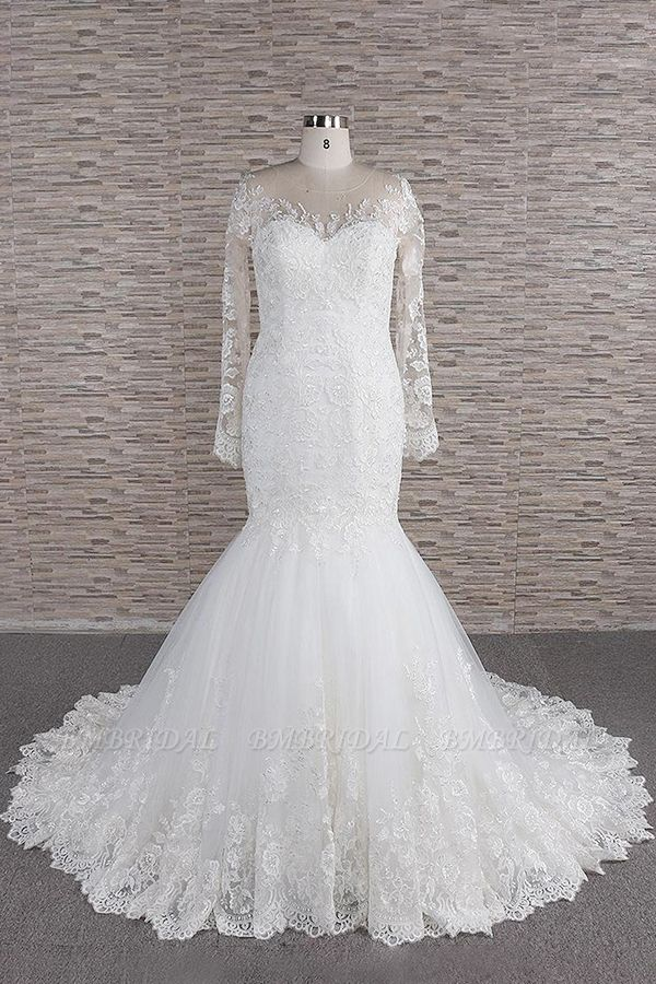 BMbridal Modest Longsleeves jewel Mermaid Wedding Dresses White Tulle Lace Bridal Gowns With Appliques Online