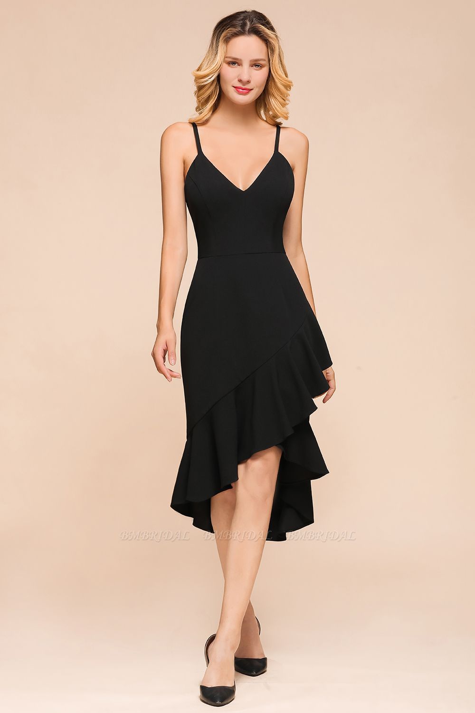 Sexy Black Spaghetti-Strap Short Prom Dress Mermaid Ruffles Homecoming Dress
