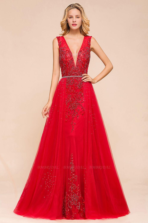 Detachable Red V-Neck Long Prom Dress Sleeveless Beadings Tulle Evening Gowns