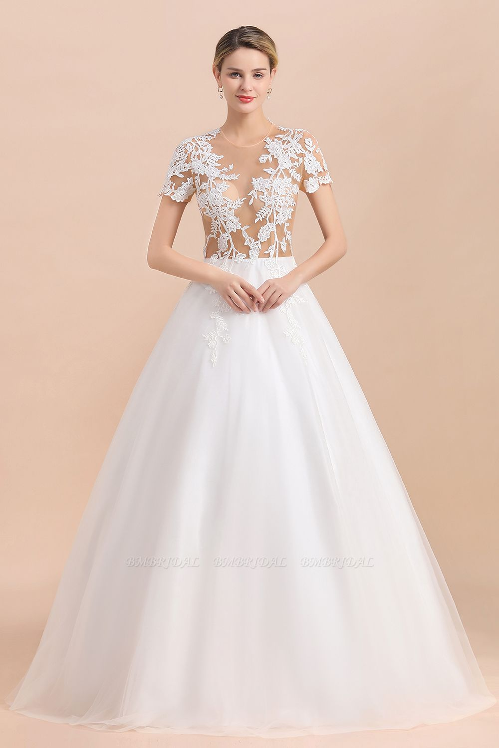 BMbridal Sexy See Through Tulle Appliques Short Sleeves Wedding Dress