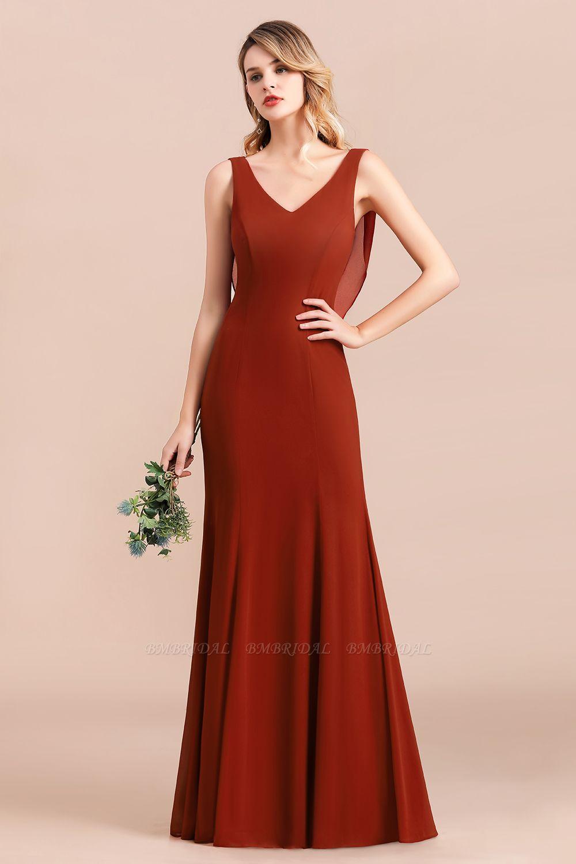Charming Mermaid V-Neck Drapped Back Bridesmaid Dress Online