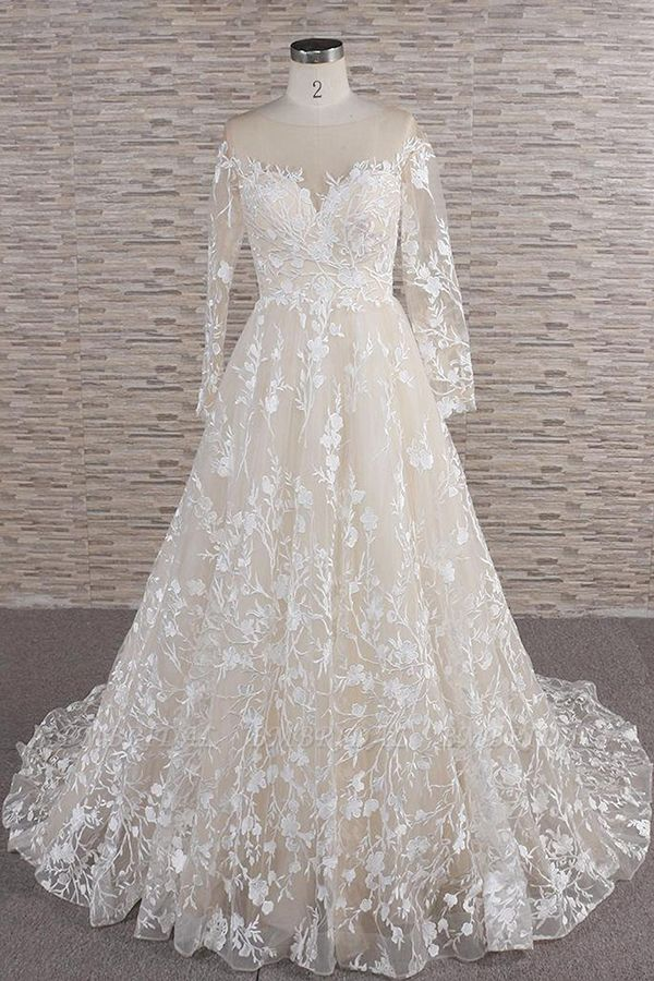 BMbridal Glamorous Jewel Longsleeves Champagne Wedding Dresses A-line Lace Bridal Gowns With Appliques On Sale