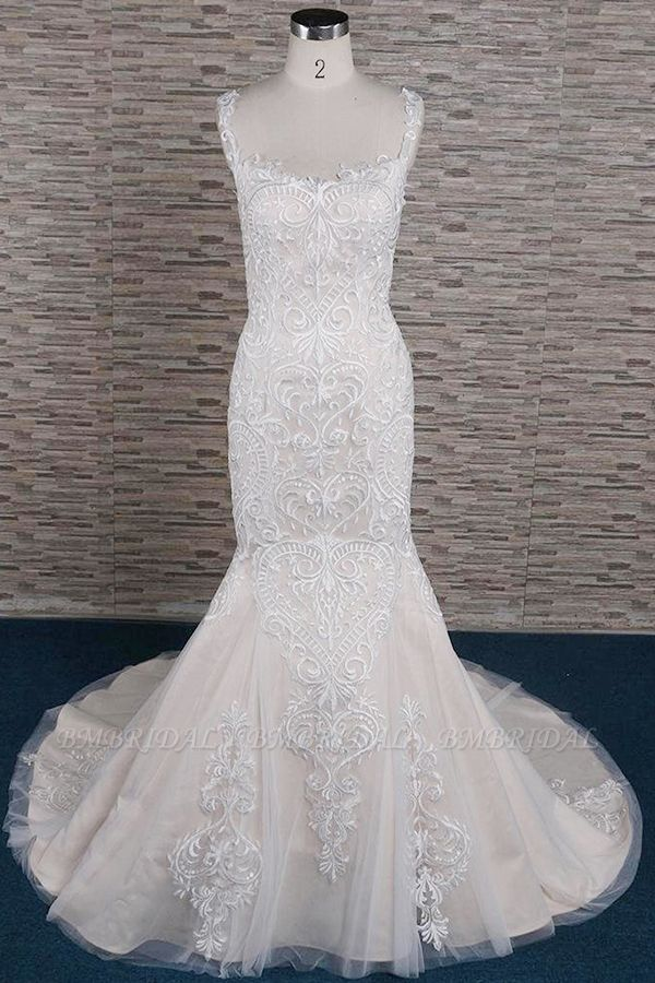 BMbridal Affordable Sleeveless Straps Champagne Wedding Dress Mermaid Lace Bridal Gowns With Appliques On Sale