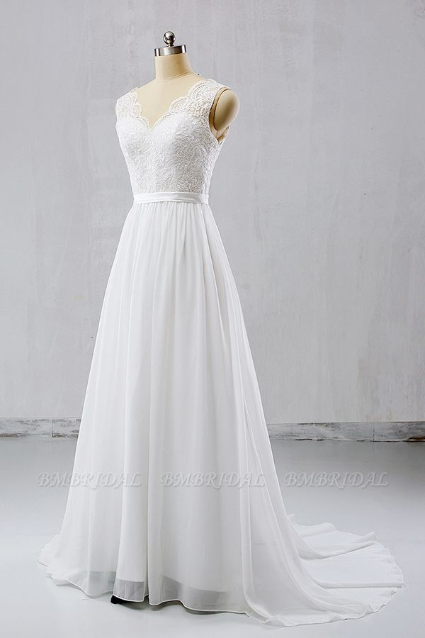 BMbridal Elegant Straps Sleeveless Chiffon Wedding Dresses White A-line Bridal Gowns Online