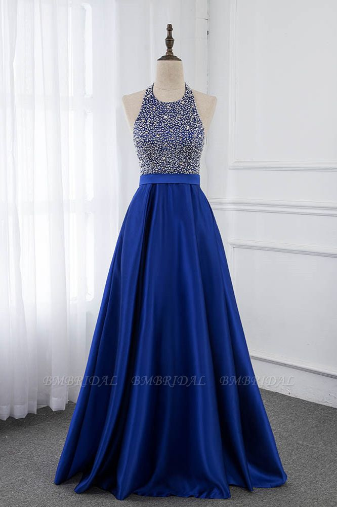 Gorgeous Satin Halter Ruffle Backless Prom Dresses with Beadings Top