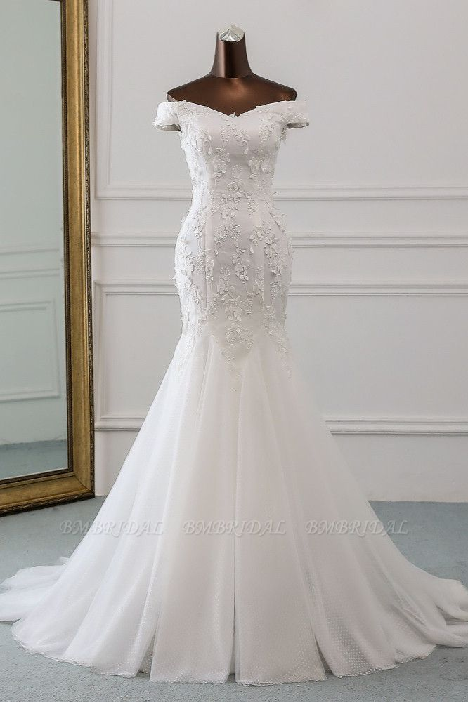 BMbridal Gorgeous Tulle Sweetheart Long Mermaid Wedding Dresses with Lace Online