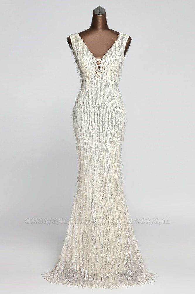 BMbridal Stylish V-Neck Sequined Mermaid Prom Dresses with Strings Online