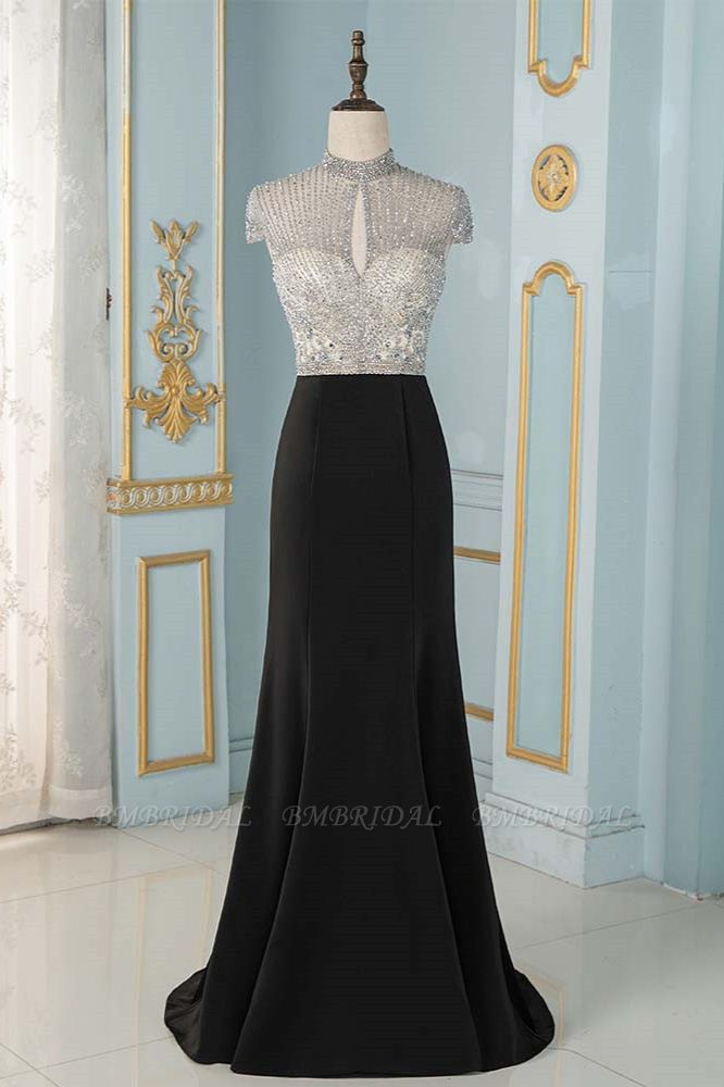 Luxury High-Neck Short-Sleeves Mermaid Prom Dresses with Beading Top