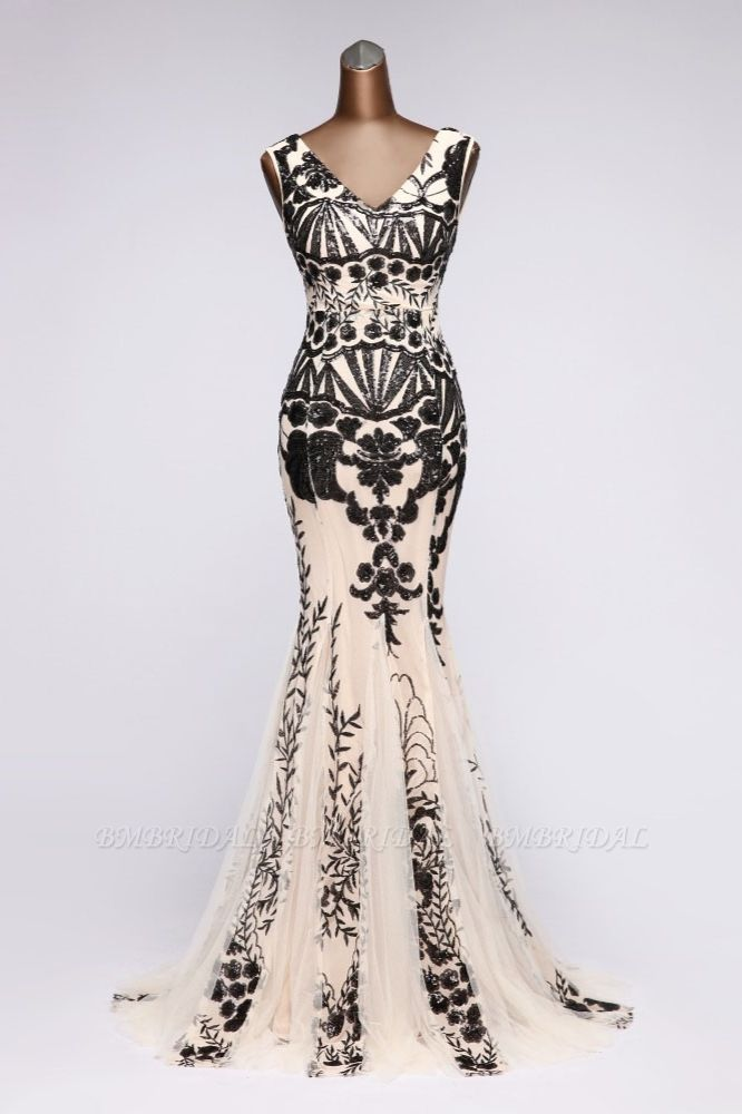 BMbridal Luxury V-Neck Sequins Mermaid Prom Dresses with Open Back Online