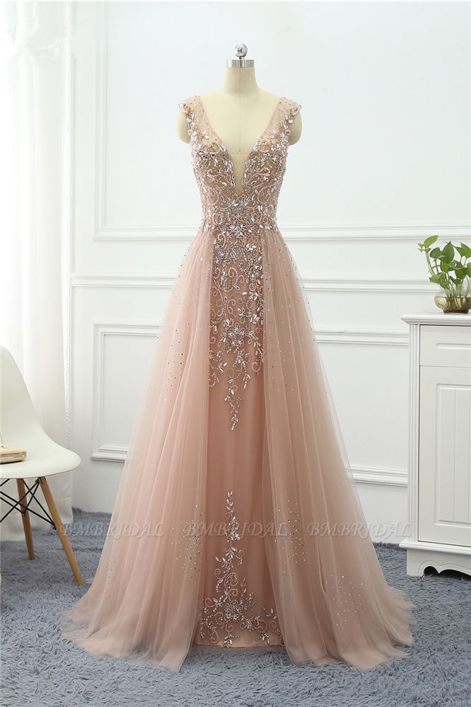 BMbridal Elegant Tulle V-Neck Ruffle Beadings Prom Dresses with Appliques