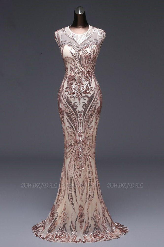 BMbridal Elegant Sequined Jewel Sleeveless Mermaid Prom Dresses with Beadings