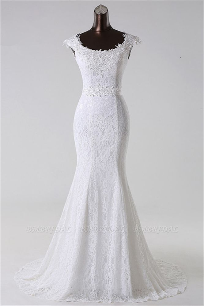 BMbridal Gorgeous Lace Jewel Mermaid White Wedding Dresses with Appliques Online