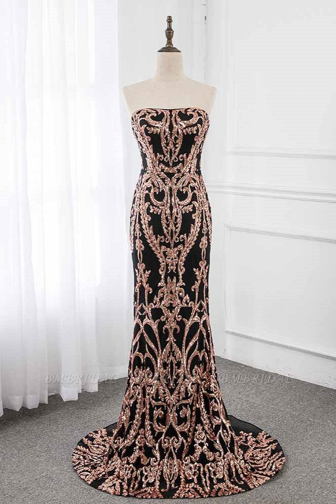 Glamorous Strapless Sleeveless Prom Dress with Glod Appliques Online
