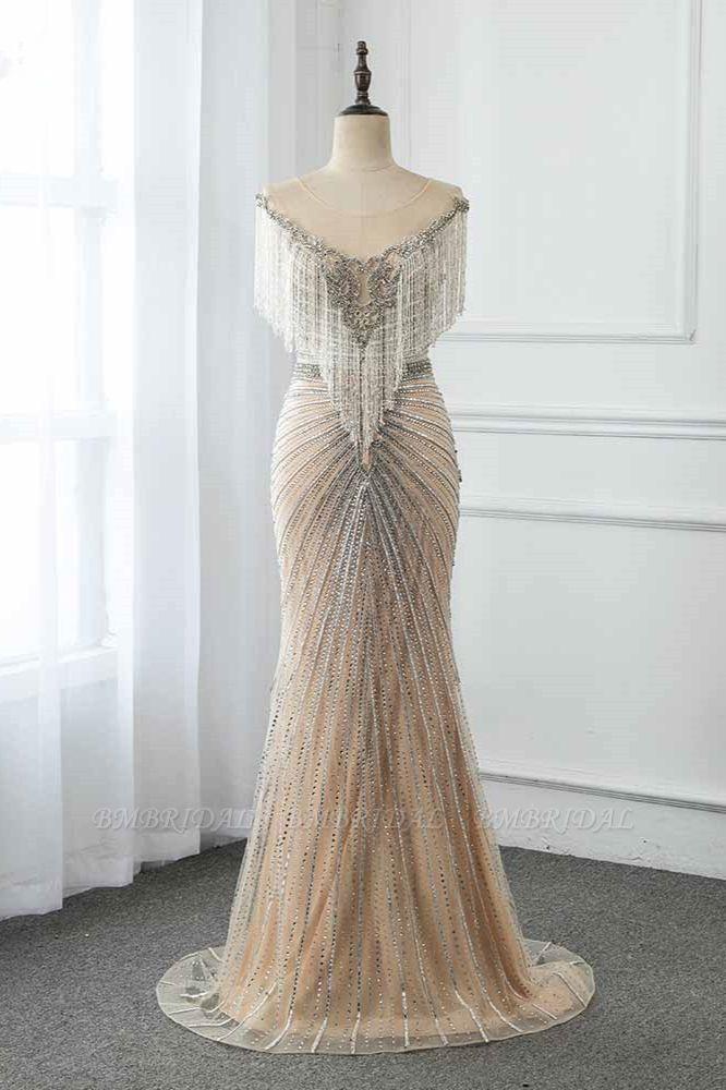 BMbridal Luxury Tulle Jewel Beadings Mermaid Prom Dresses with Tassels Online