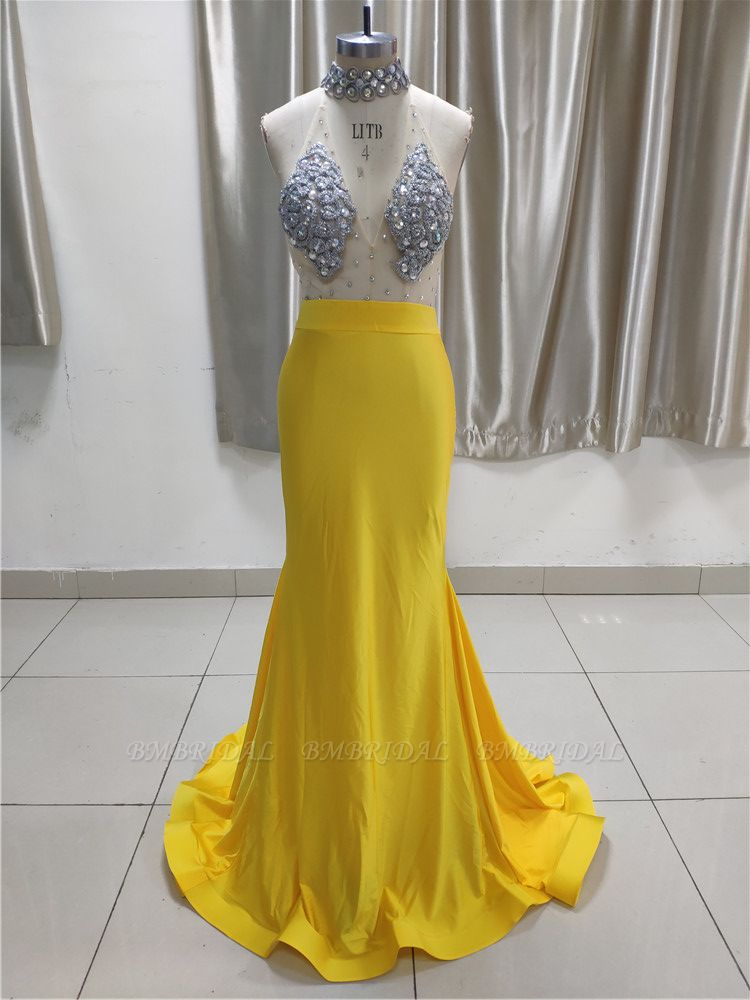 BMbridal Sexy Yellow High Neck Ruffle Prom Dress Affordable with Backless Online