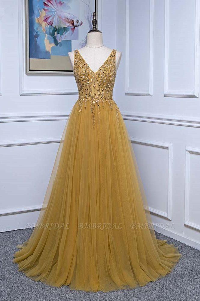 BMbridal Glamorous Tulle Straps V-Neck Ruffle Prom Dresses with Beadings Online