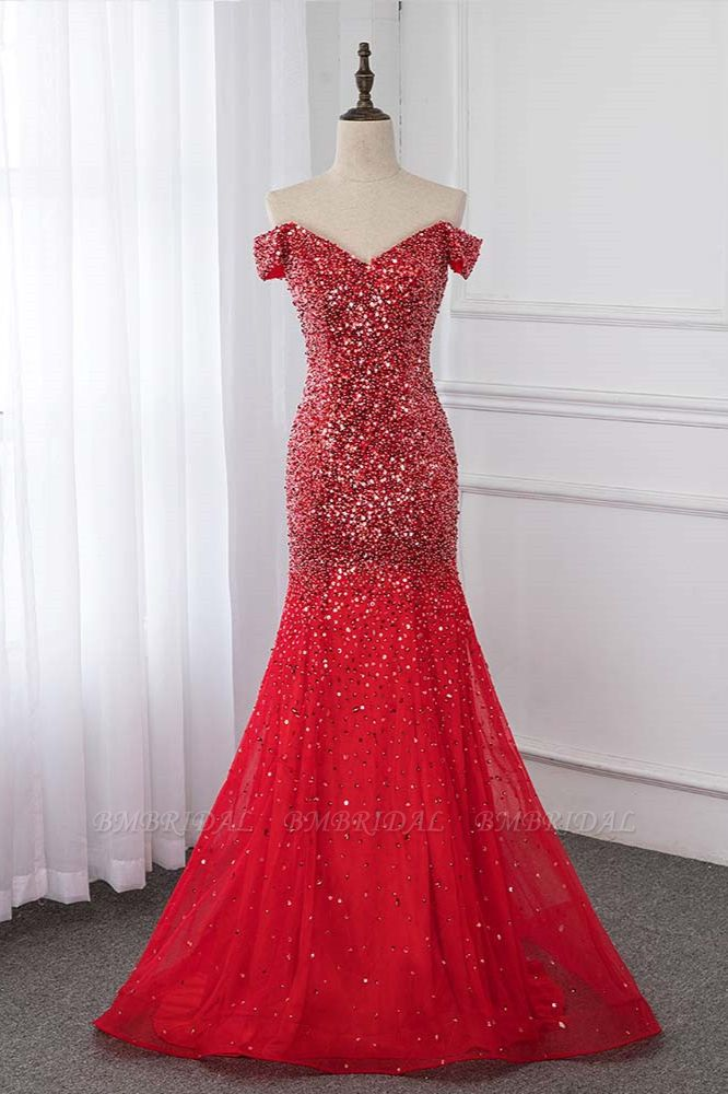 Sparkly Off-the-Shoulder Sweetheart Mermaid Prom Dresses with Sequins