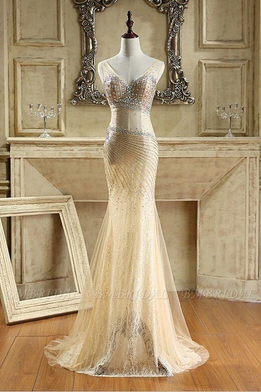 BMbridal Glamorous Tulle V-Neck Sleeveless Mermaid Prom Dresses with Beadings