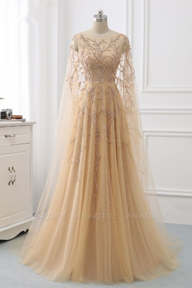Elegant Jewel Long Sleeves Ruffle Prom Dresses with Beadings Online