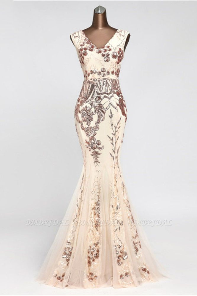 Glamorous Sequined Sleeveless Long Mermaid Prom Dresses Online