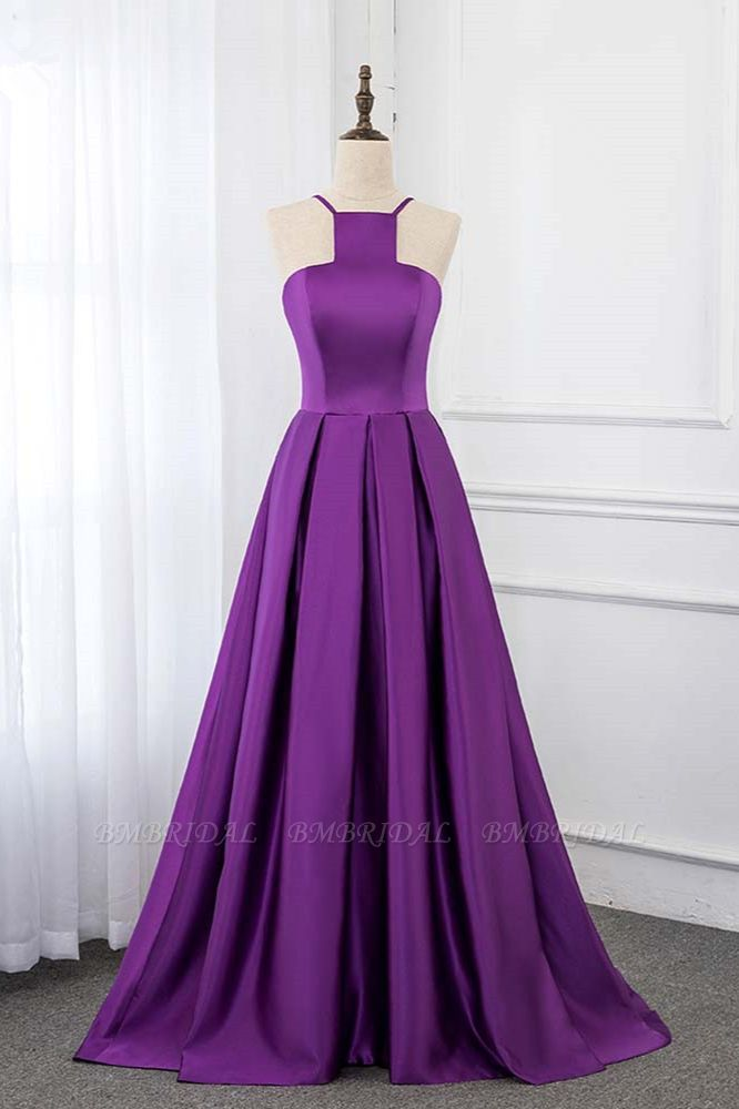 BMbridal Chic Satin Spaghetti Straps Sleeveless Long Prom Dresses with Ruffle Online