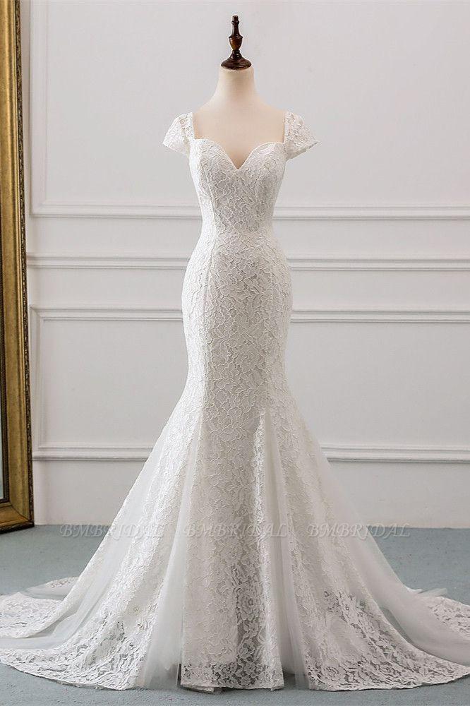 Elegant Lace Cap-Sleeves Sweetheart Mermaid Wedding Dresses Online