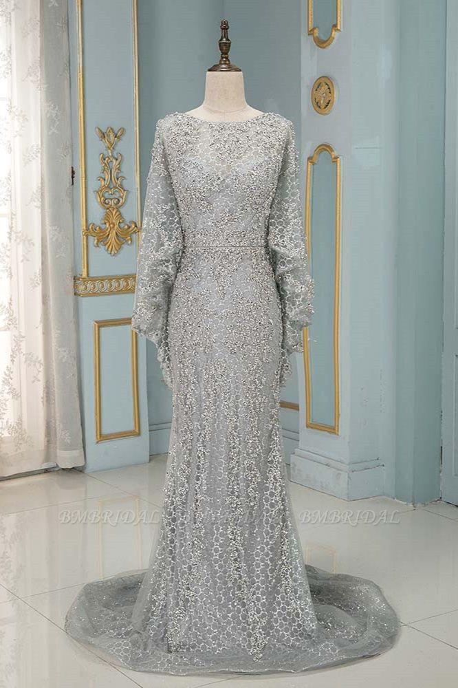 Elegant Jewel Long Sleeves Mermaid Prom Dresses with Appliques Beadings