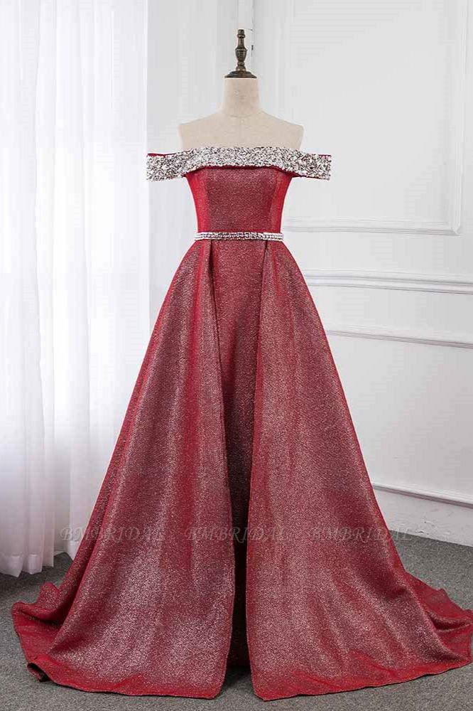 Gorgeous Off-the-Shoulder Beading Burgundy Prom Dress with Sash