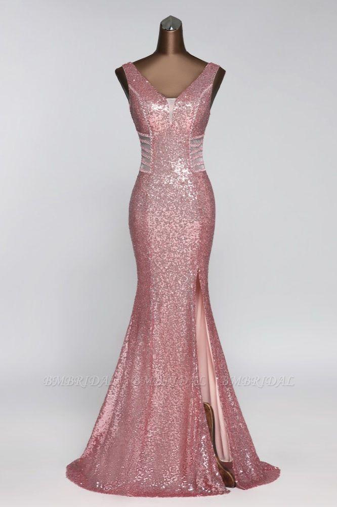 BMbridal Affordable V-Neck Pink Mermaid Prom Dresses with Front-Slit Online
