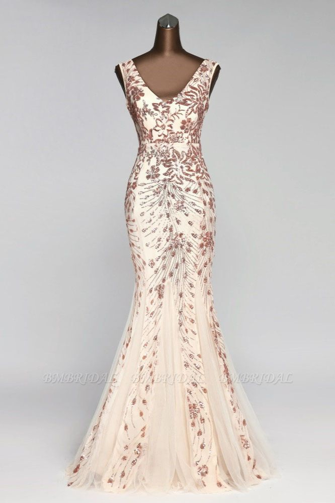 Gorgeous V-Neck Sleeveless Mermaid Prom Dresses with Sequins
