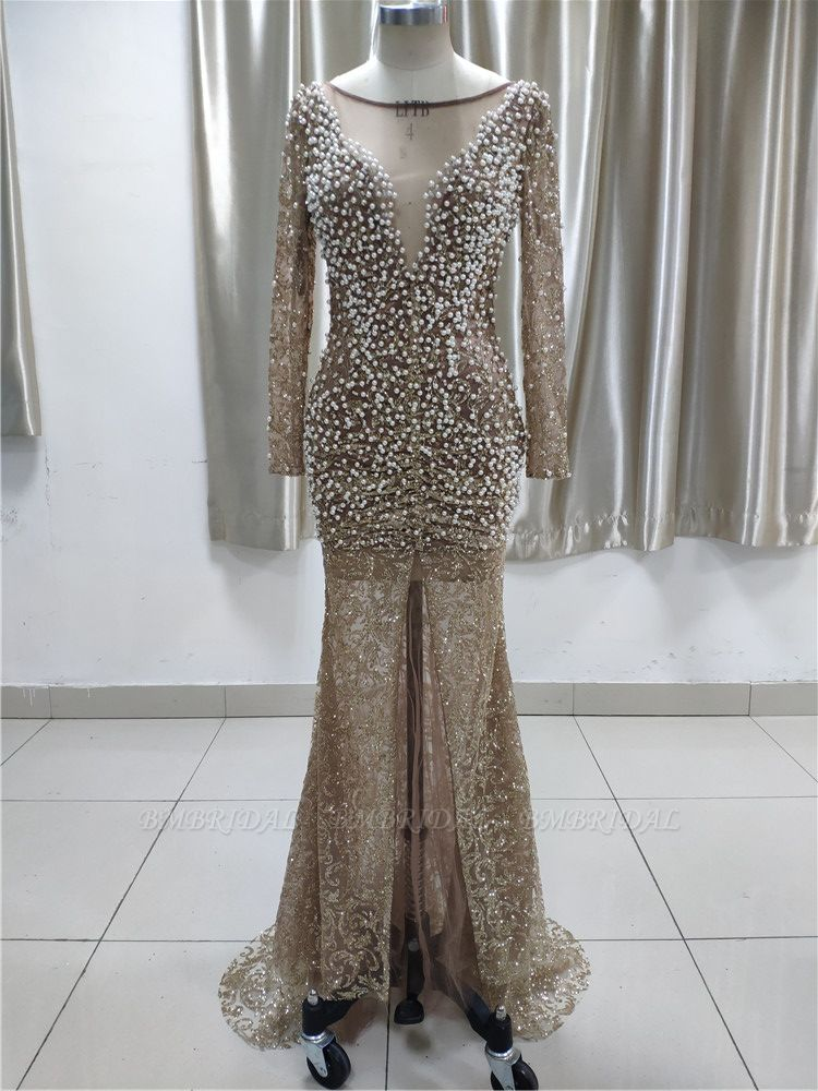 Luxury Lace Long Sleeves Slit Prom Dresses with Appliques Pearls Online
