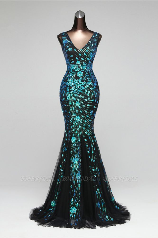 Luxury Tulle V-Neck Sleeveless Mermaid Prom Dress with Sequins