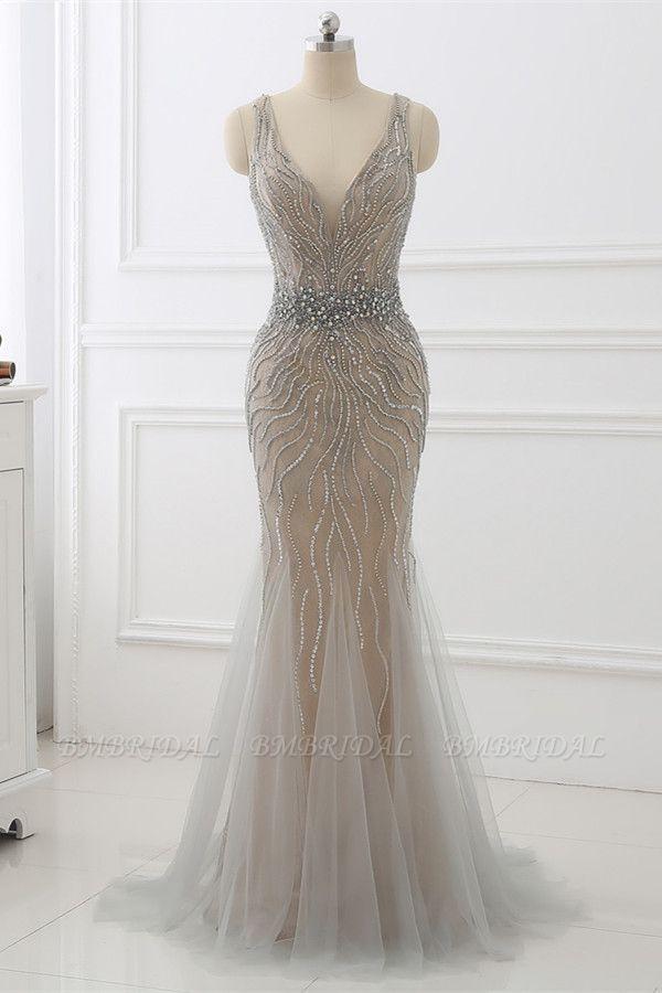 BMbridal Elegant Strap V-Neck Sleeveless Mermaid Prom Dresses with Beadings Ruffles