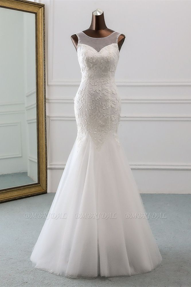 BMbridal Popular Jewel Sleeveless White Mermaid Wedding Dresses with Appliques