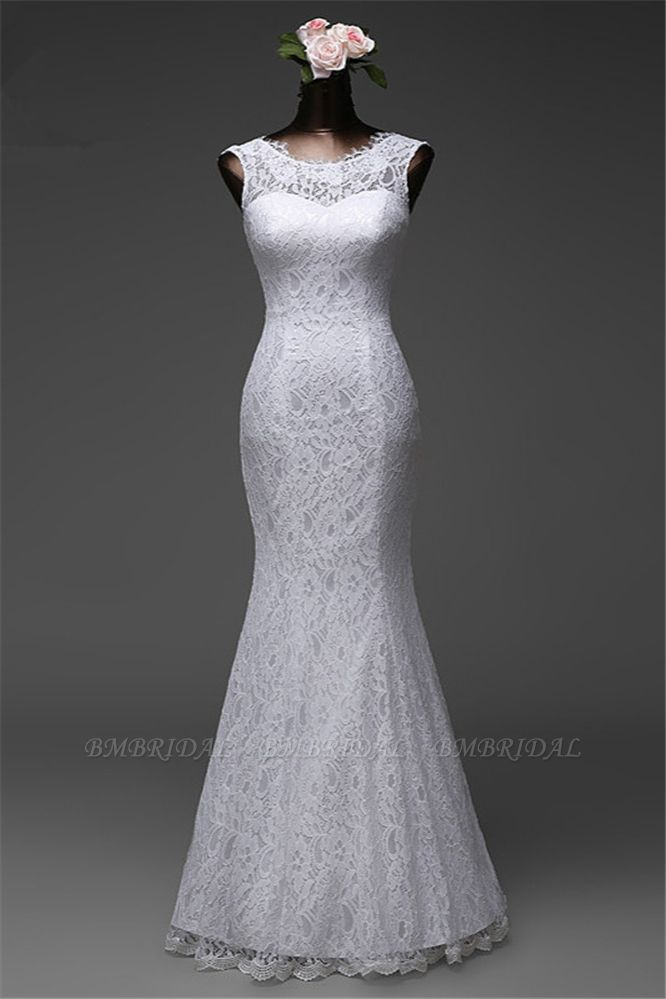 BMbridal Affordable Lace Jewel Sleeveless Mermaid Wedding Dresses Online